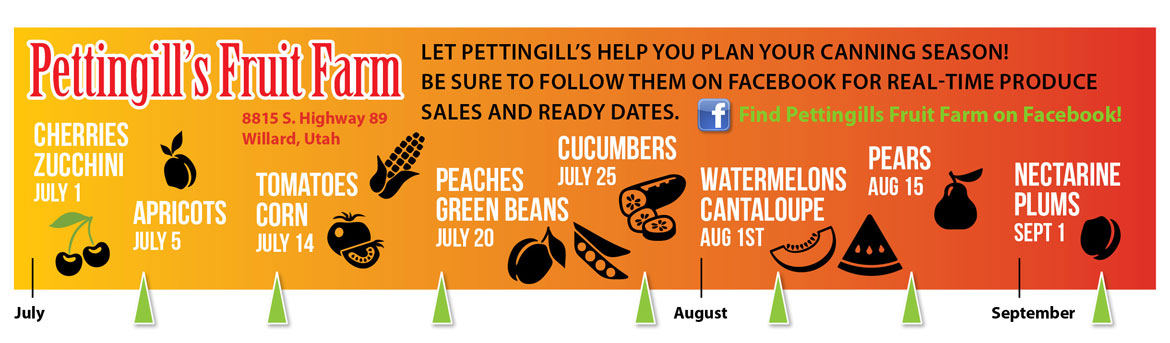 2016 Pettingills Fruit Farm summer produce timeline - find out when local fruit is hitting its peak with our northern Utah fruit calendar!