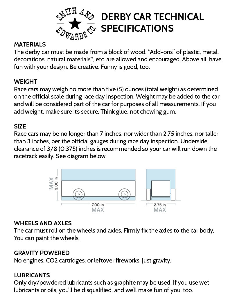 2019 Pinecar Derby Rules And Regulations
