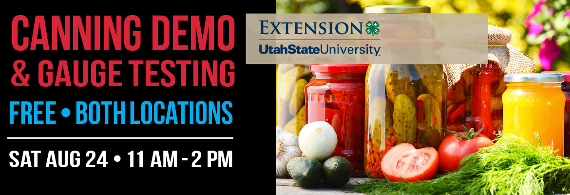 USU Extension Pressure Canner Check: Saturday, August 24, 11-2pm   FREE. Join us for tips on fermenting, pickling, & canning. Plus, bring your pressure canner because we'll test your lid and gauge to make sure you're canning safely! Teresa Hunsaker from the USU Extension Office will be here.