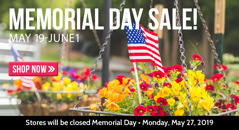 Shop and save during our Memorial Day Sale, happening now through June 1, 2019!