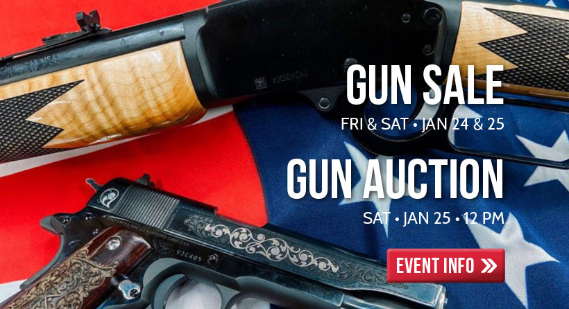 Shop our annual gun sale January 24-25. Join us in our Ogden location from 12 to 3 on January 25 for the annual Gun Auction.
