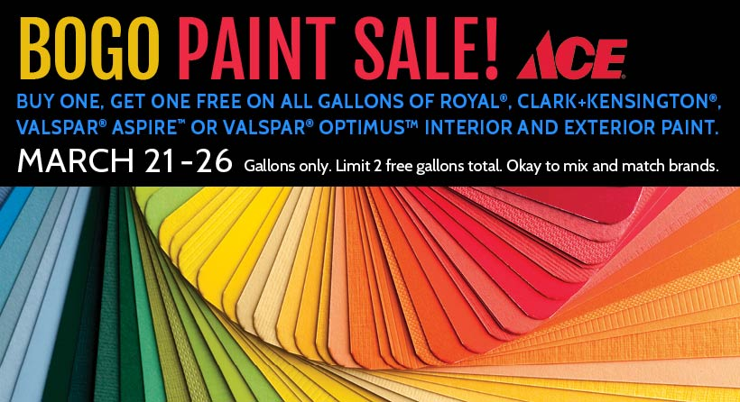 Shop in-store now through March 26th, 2018 and save on paint!