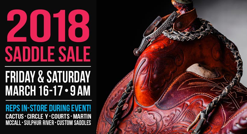 Save big money on all saddles March 16 - 17!