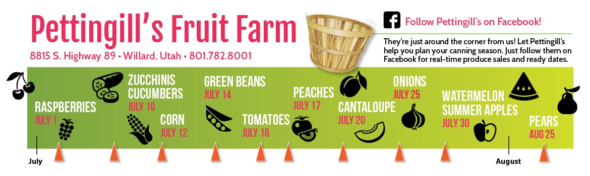 2017 Pettingills Fruit Farm summer produce timeline - find out when local fruit is hitting its peak with our northern Utah fruit calendar!