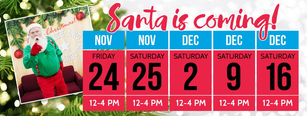 Visit Santa Nov. 24th through Dec. 16th!