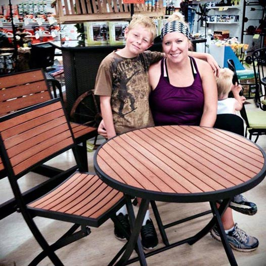 Abby Lyells Housley with her new Lifetime Bistro Set!