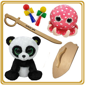 Kids' Toys - wooden swords and Ty Beanie Boos