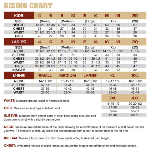 Kings Camo Sizing Guide