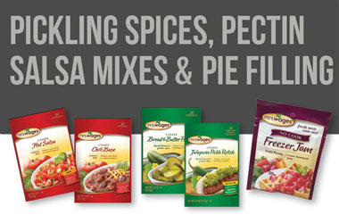 Explore pickling spices, pectin and jam mixes, salsa mixes, and pie filling mixes!