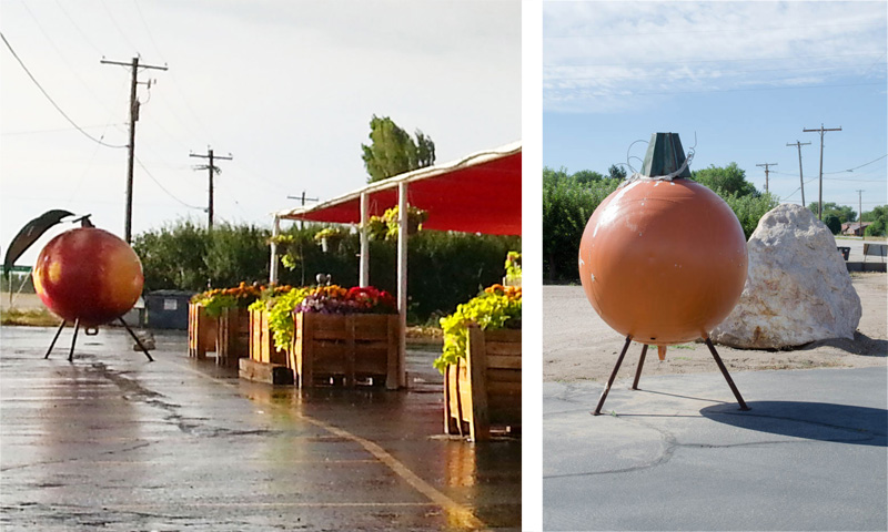 Buoys that Bert Smith bought in 1962 - painted to look like fruit at Pettingill's Fruit Stand