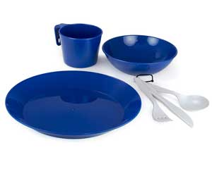 GSI Outdoors Cascadian 1 Person Blue Table Setting