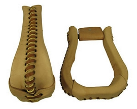"Leather Covered Bell Stirrups - Choose 2"" or 3"""