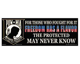 "Eagle Emblems 3-1/4"" x 9"" POW-MIA ""Freedom Has a Flavor"" Sticker"