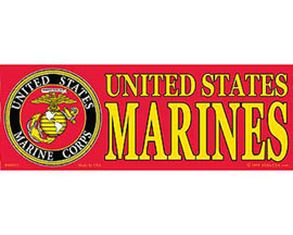"Eagle Emblems 3-1/4"" x 9"" U.S. Marines Sticker"