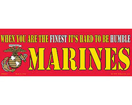 "Eagle Emblems 3-1/4"" x 9"" U.S. Marines ""Hard to be Humble"" Sticker"