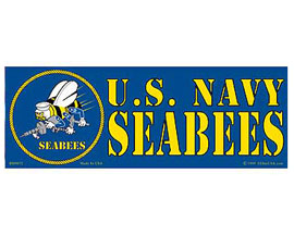 "Eagle Emblems 3-1/4"" x 9"" U.S. Navy SeaBees Sticker"