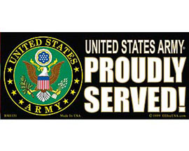 "Eagle Emblems 3"" x 6-1/2"" ""U.S. Army - Proudly Served"" Sticker"