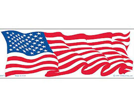 "Eagle Emblems 3-1/4"" x 9-1/2"" Wavy U.S.A. Flag Sticker"