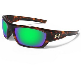 Under Armour® Force Sunglasses - Shiny Crystal Tortoise/Brown & Green Multiflection