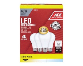 Ace® 9.5 Watt LED Soft White A19 Light Bulbs - 4 Pack