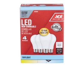 Ace® 9.5 Watt LED Daylight A19 Light Bulbs - 4 Pack